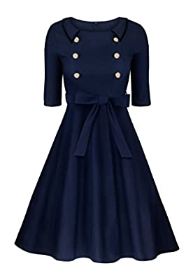 Angerella Vintage 3/4 Sleeve Party Swing Dress With Belt