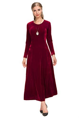 Le Vonfort Evening Gown Dresses, Ladies A Line Soft and Comfy Party Long Dress Velvet Wine Large