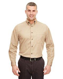 UltraClub Men's Long-Sleeve Cypress Denim with Pocket (Khaki) (Small) (Sleeve Long Denim Khakis)