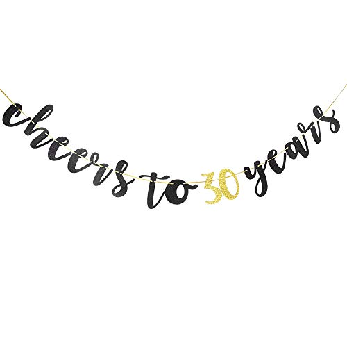Cheers to 30 Years Banner Happy 30th Birthday, Wedding,Anniversary,Retirement Party Decoration Supplies(Black Glitter)