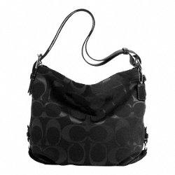 Coach 24CM Signature Black Duffle Bag F15067, Bags Central
