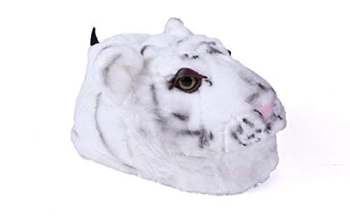 (9002-4 - White Tiger - X Large - Happy Feet Animal Slippers)