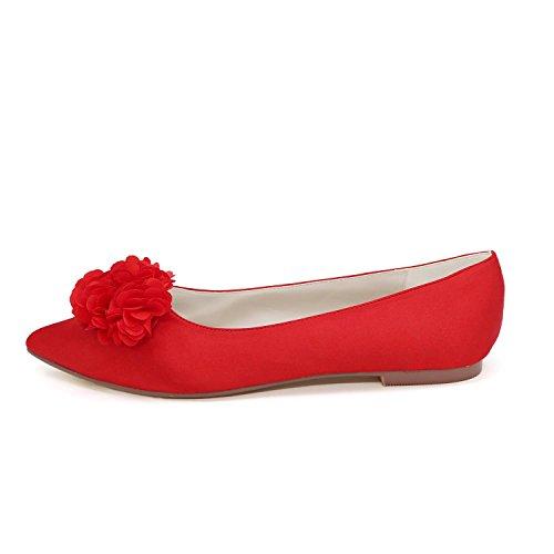 L@YC Frauen Hochzeit Schuhe Shirt flache Schuhe Hochzeit / Party und Hochzeit Schuhe mehr Farben Red
