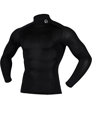 ARMEDES Men's Compression Unique Cool Dry Baselayer Fitted Exercise Mock Long Sleeve T-Shirt Black,M