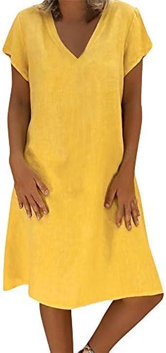 Vestido de Mujer Verano, Morbuy Elegante Lino Algodón Casuales ...