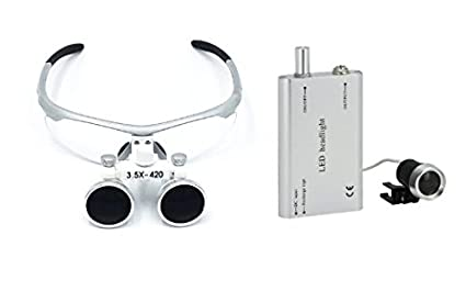 Aphrodite 3.5x 420mm Dental Surgical Binocular Loupes + LED Dental Head Light Lamp
