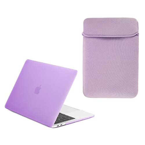 TOP CASE - Essential 2 in 1 Rubberized Hard Case + Reversible Sleeve Bag Compatible with MacBook Pro 13