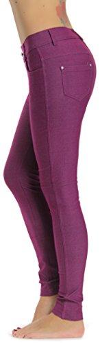 Prolific Health Women's Jean Look Jeggings Tights Yoga Many Colors Spandex Leggings Pants S-XXL (Medium, Plum) ()