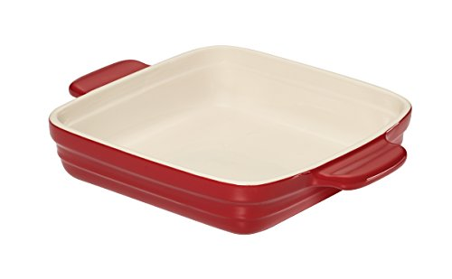 Baker's Advantage Ceramic Square Baking Dish, 9-by 9-Inch, Red