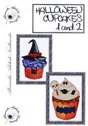 Halloween Cupcakes 1-2 Cross Stitch Chart and Free Halloween Embellishment]()