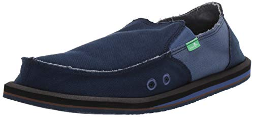 Sanuk Men's Vagabond Hemp Loafer Flat, Navy/Indigo 14 M - Loafers Indigo