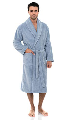 Cotton Cashmere Flannel - TowelSelections Men's Robe, Organic Cotton Terry Shawl Bathrobe Medium/Large Cashmere Blue
