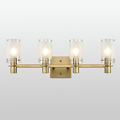 AXILAND Gold Plating Bath Vanity Light Wall Sconce Fixture with Frosted Glass Shade by AXILAND