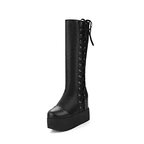 Blend Materials Lace up Closed Heels Solid AgooLar Boots Women's Toe Round High Black xSnFwq0