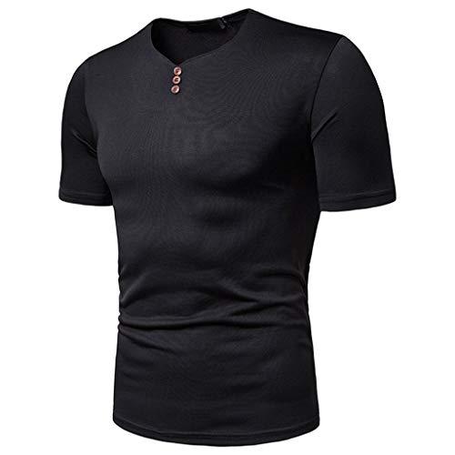 Large Laydown Brush - Bsjmlxg Fashion Men's V-Neck Button Casual Pure Color Formal Slim Fit Short Sleeve Shirt Top Black