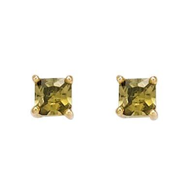 So Chic Bijoux © Boucles d'oreilles Carré Oxyde de Zirconium Vert Plaqué Or 750