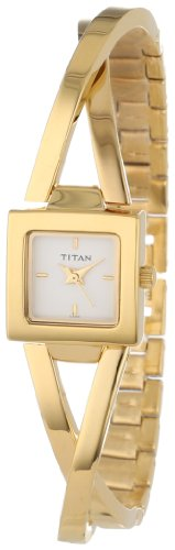 Titan Workwear Women's Contemporary Bracelet Watch - Quartz, Water Resistant - Gold Band and White Dial (Best Titan Watches In India)