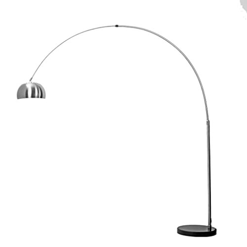 Modern Brushed Nickel-plated Stainless Steel Floor Lamp, Living Room Bedroom Dining Room Office Lights, Height-Adjustable Floor Lamp (Steel Nickel Plated Brushed Floor)