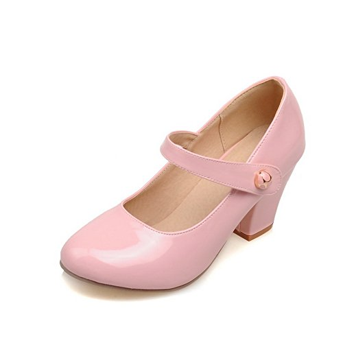 BalaMasa Ladies Chunky Heels Pull-On Round-Toe Pink Patent-Leather Pumps-Shoes - 8 B(M) ()