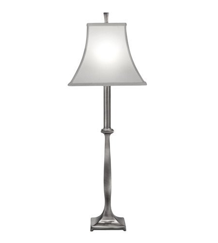 Stiffel BL-6661-AN One Light Buffet Lamp, Antique Nickel Finish with Off White Silk Shantung Shade