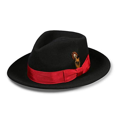Ferrecci L Crushable Black Red Fedora Hat]()