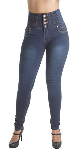 Plus Size Butt Lifting, Levanta Cola, Elastic High Waist Skinny Jeans in Navy Size 22