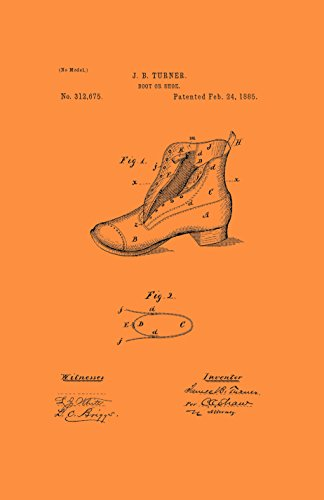 Framable Patent Art the Original Poster Art Print Footwear Shoe Boot 11in by 17in Patent Vintage PAPSSP112VO, (Orange Patent Footwear)