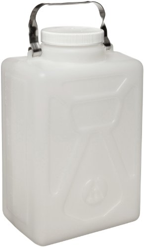 (Nalgene 2211-0020 HDPE Graduated Carboy with Stainless Steel Handle and Polypropylene Screw Closure, Rectangular, 9L Capacity, 8-1/2