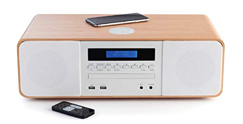 Thomson MIC201IBT HiFi-installatie (CD-speler, radio, MP3, USB), inductielader, houtkleuren en wit