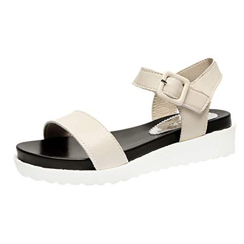 Tantisy ♣↭♣ Women's Casual Adjustable Ankle Strap Open Toe Sandals Leather Platform Wedge Sandals /3cm Beige