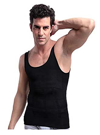 PlayCool Mens Slimming Body Shaper Vest Shirt Abs Abdomen Slim, Compression Muscle Tank, Black S