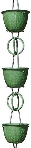 Green Patina Finish 8-1//2 Feet Length Monarch Rain Chains 50281 Aluminum Hammered Cup Rain Chain