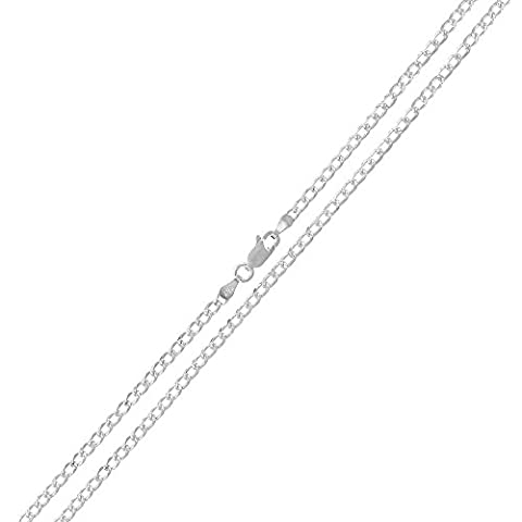 Sterling Silver Italian 2mm Cuban Curb Link Diamond-Cut ITProlux Solid 925 Necklace Chain 16