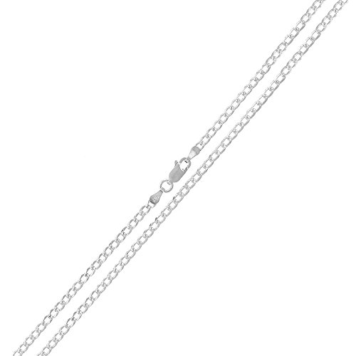 .925 Sterling Silver 2mm Solid Cuban Curb Link Diamond Cut Pave ITProLux Necklace Chains 16