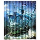 Fashion-Cute-Nautical-Vintage-Sailing-Pirate-Ship-Shower-Curtain-60-x-72