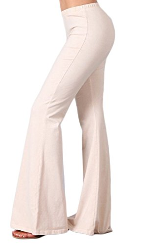 Zoozie LA Women's Bell Bottoms Yoga Stretch Pants Denim Nude Large