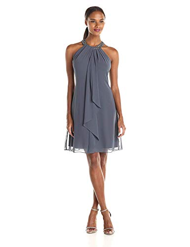 S.L. Fashions Women's Jewel Neck Sheath Dress, Steel, 12