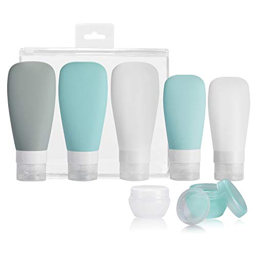 Silicone Travel Bottles, Vonpri Leak Proof Squeezable Refillable Travel Accessories Toiletries Containers Travel Size…
