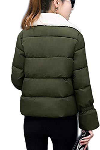Manica Trapuntata Giovane Giubbino Invernali Piumini Imbottitura Cappotto Double Casuale Fashion Lunga Colore Autunno Calda Breasted Comodo Puro Verde Donna Con Trapuntato Elegante Giacca Tasche xPqnwa00AB