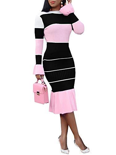 Knit Ruffle Dress (Chellysun Women Long Sleeve Bodycon Sweater Dresses 2 Piece Color Block Ruffle Knit Midi Dress Black)