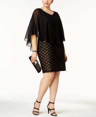 (Connected Apparel Women Plus Chiffon Overlay Sheath Dress Black 16W)