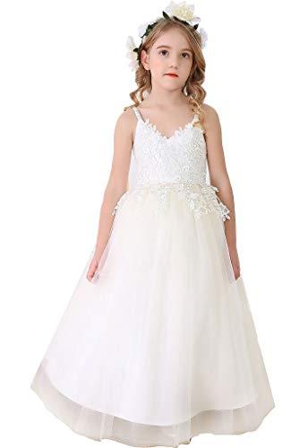 Bow Dream Flower Girl's Dress Tulle Lace Long Ivory 6