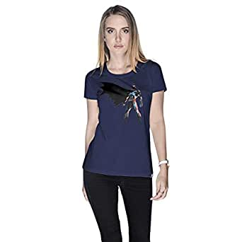 Creo Batman Super Hero T-Shirt For Women - L, Navy