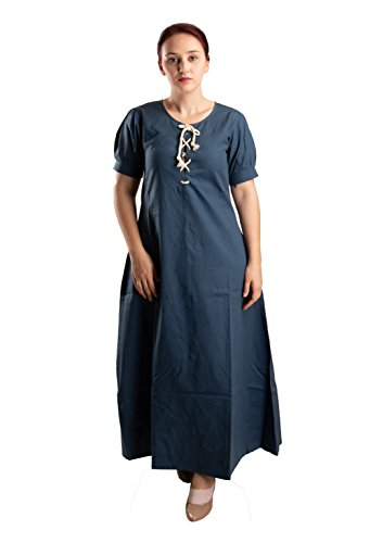 byCalvina Costumes Nelly Medieval Women Dress Made in Turkey,Blue-XL ()