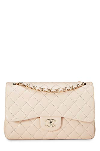 CHANEL Light Beige Quilted Lambskin Classic Double Flap Jumbo (Pre-Owned)
