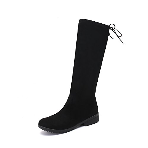 Not Warm Weight Closure Toe Resistant Heeled MNS02438 Lining Round Boots Water 1TO9 Adjustable Light Strap Womens No High Black Boots Urethane Top nwgx7X4qz7