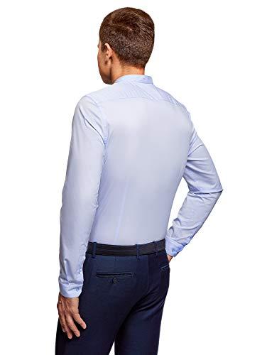 Slim Oodji Coreana Blu7001n Alla Fit Collo Ultra Con Uomo Camicia nkOP08w