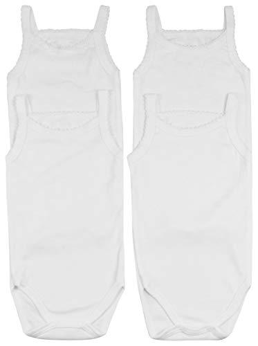 ToBeInStyle Baby Girls' 4 Pack Spaghetti Strap Bodysuit Onesies - White - 3-6 Months
