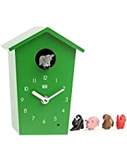 KOOKOO AnimalHouse Green, Striking Small Cuckoo Clock with 5 Farm Animals Sounds, Natural Field Recordings
