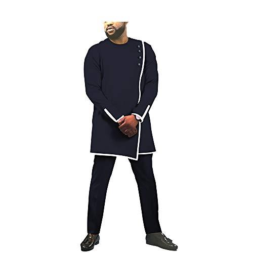 African Men's Suits Set 2 Pieces Shirts+Pants Crop top Ankara Clothing Attire Wax 12 11 4X